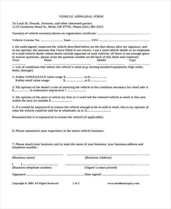 retail appraisal form format