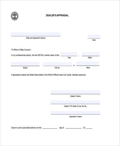 retail appraisal form sample