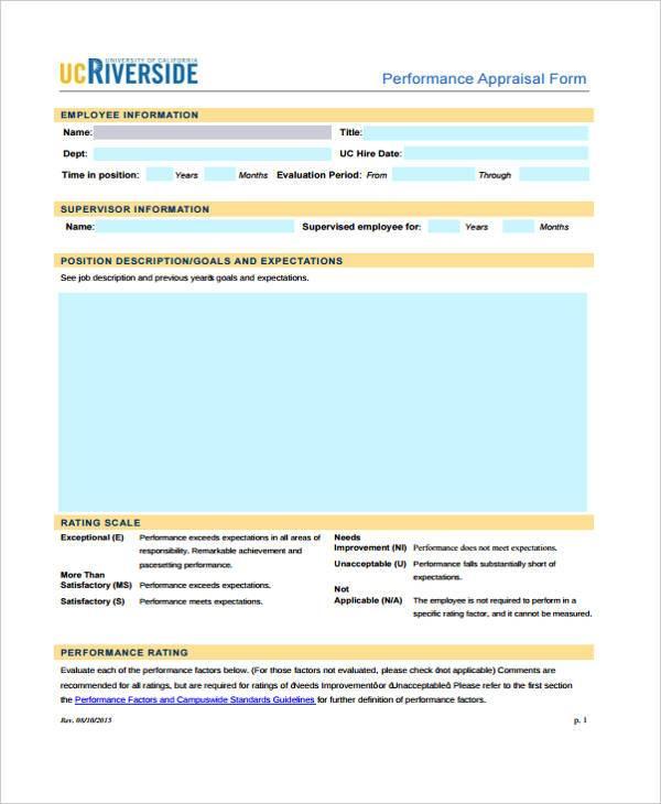 retail performance appraisal form1