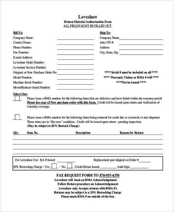 return material authorization form