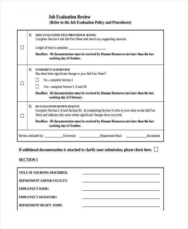 Job Evaluation Form Samples  Free Sample Example Format Download