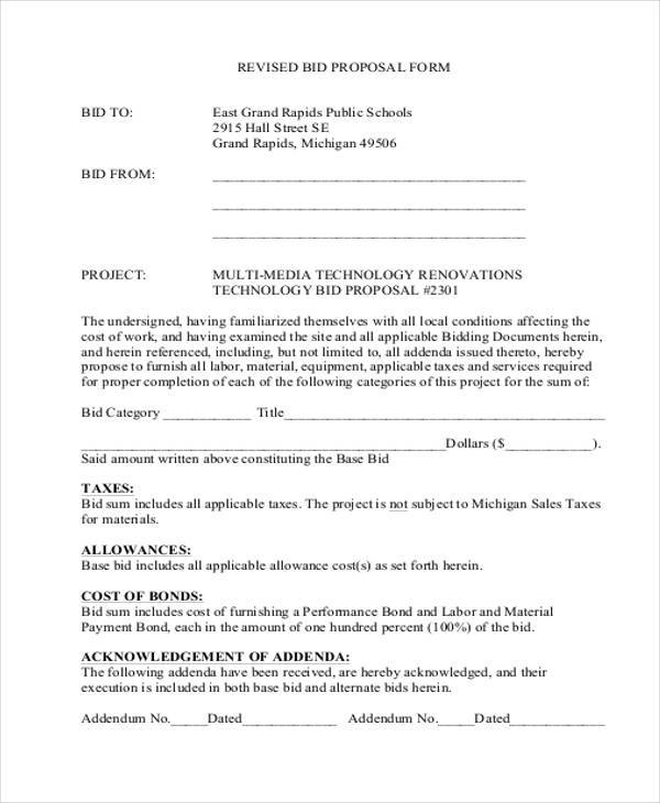 9 bid proposal form samples free sample example format download