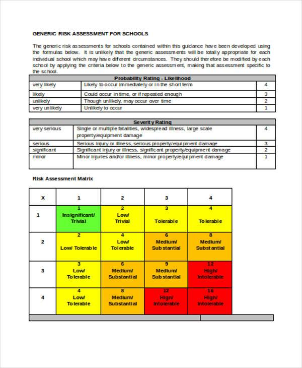 risk assessment form for schools