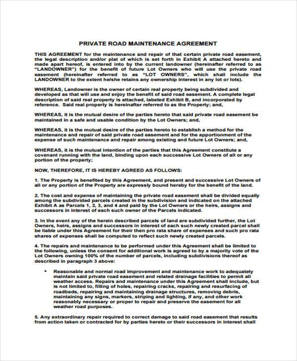 road maintenance agreement form Sample Road Maintenance Agreement Forms - 6  Free Documents in Word, PDF