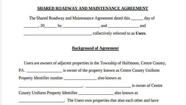 8 Road Maintenance Agreement Form Samples Free Sample Example