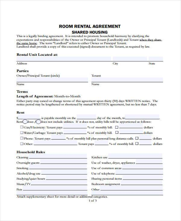Rent Contract Room Rental Contract Sample Rent Contract Sample