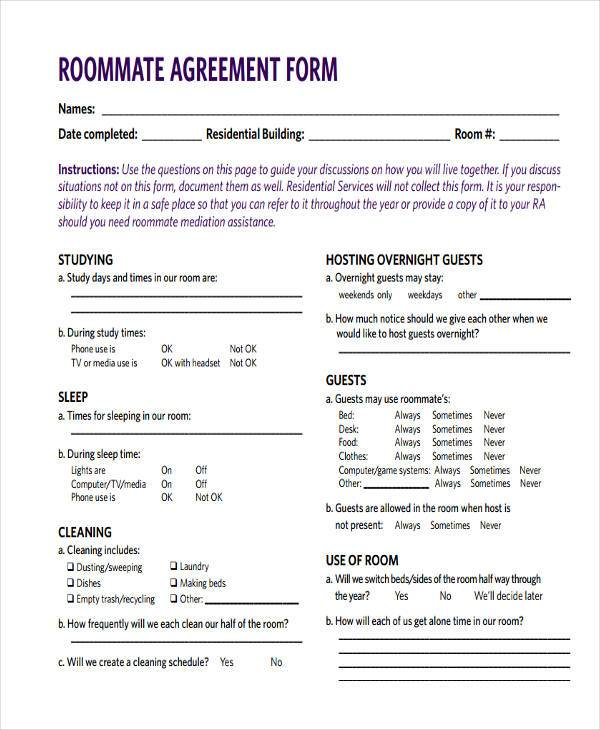 Roommate Contract Room Rental Agreement Rocket Lawyer. 40 Free