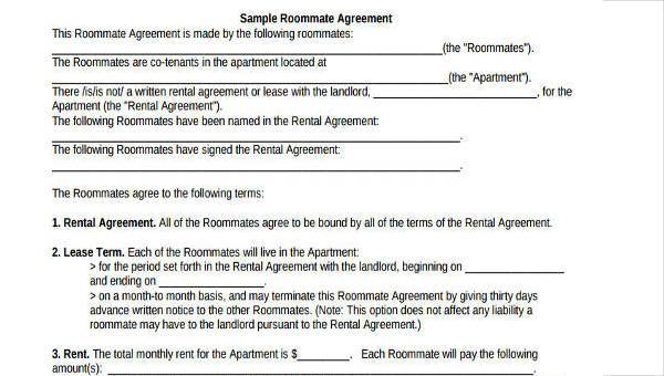Free 8 Roommate Agreement Form Samples In Sample Example