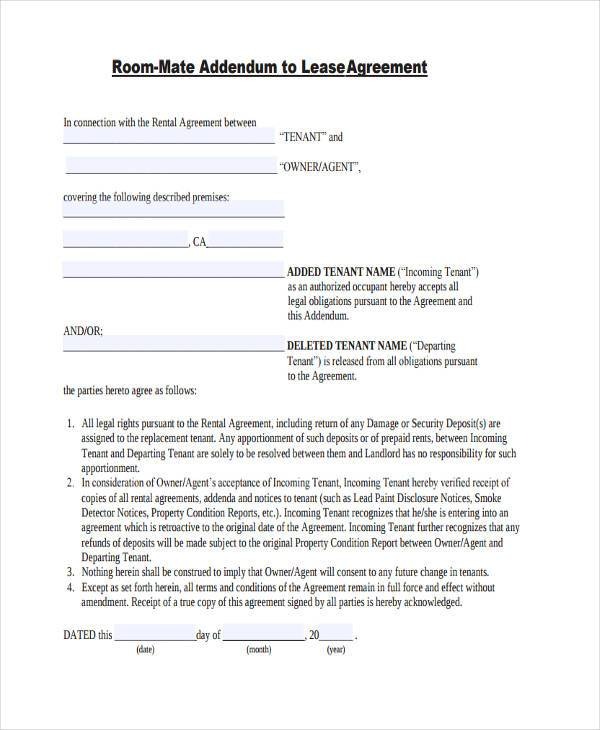Roommate Agreement Form Samples  Free Sample Example Format