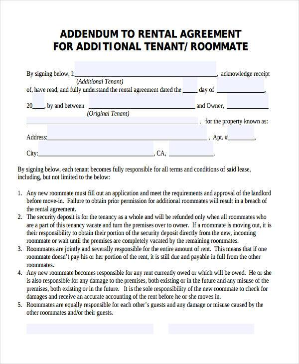 roommate rental contract agreement form