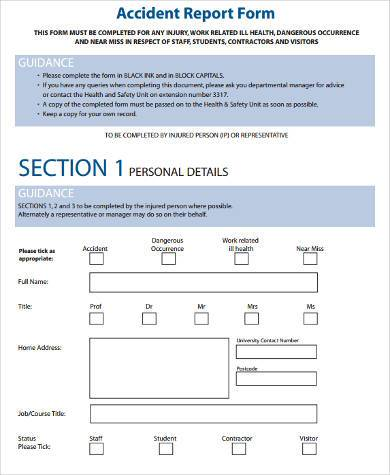 Sample Safety Report Forms   Free Documents In Word Pdf