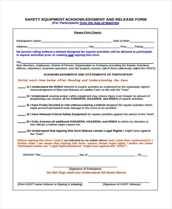 Equipment Release Form Samples  Free Sample Example Format