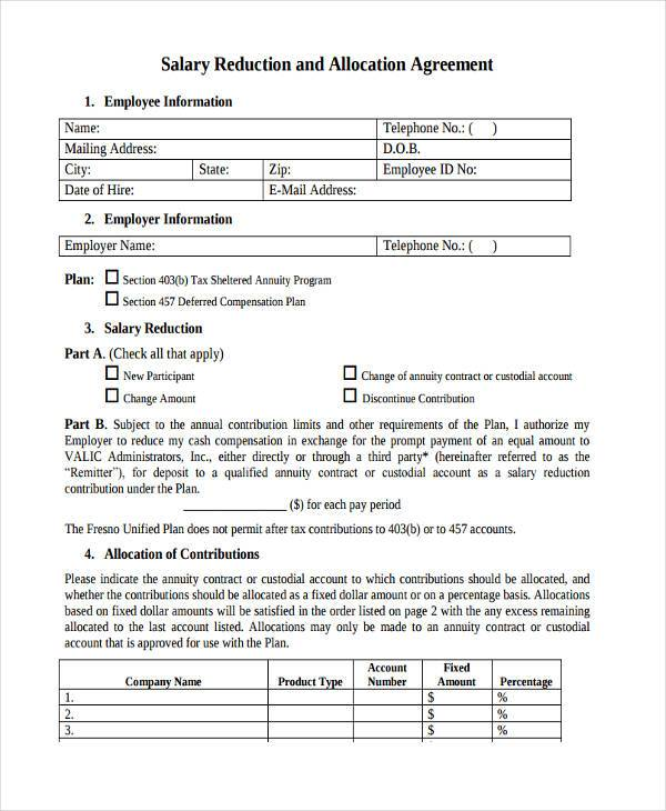 Sample Allocation Agreement Forms   Free Documents In Word Pdf
