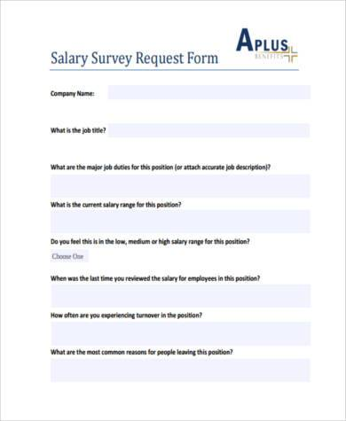 salary survey request form