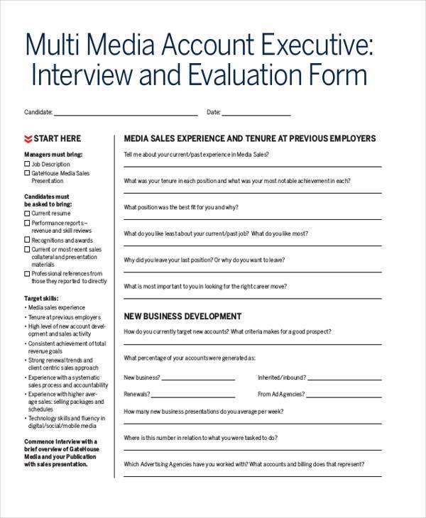 sales interview evaluation form