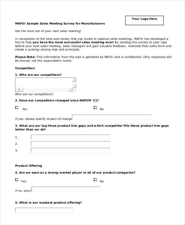 Feedback Form Formats – Meeting Feedback Form