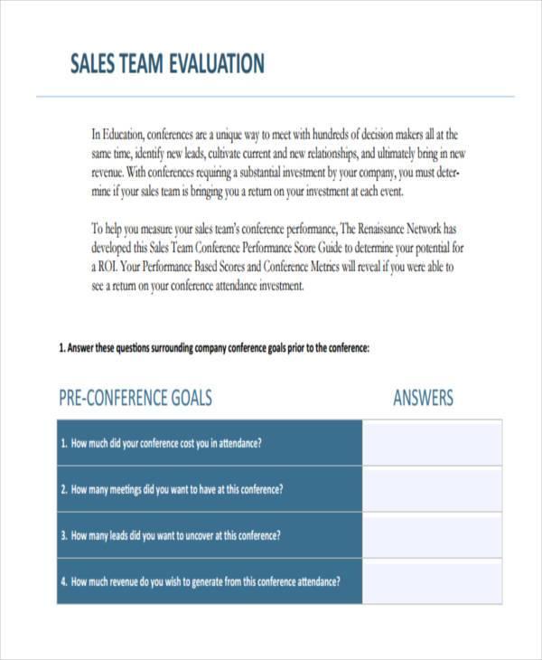 sales team evaluation form sample