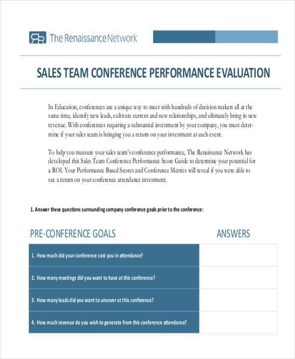 sales team member evaluation form