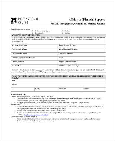 sample affidavit of financial support form