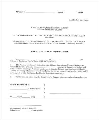 Sample Affidavit Of Truth Form PDF