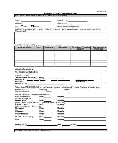 Annual Physical Exam Form - Neptun