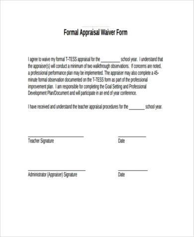 sample appraisal waiver form