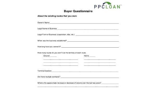 Sample Buyer Questionnaire Forms Free Documents In Word PDF - Where to buy legal forms