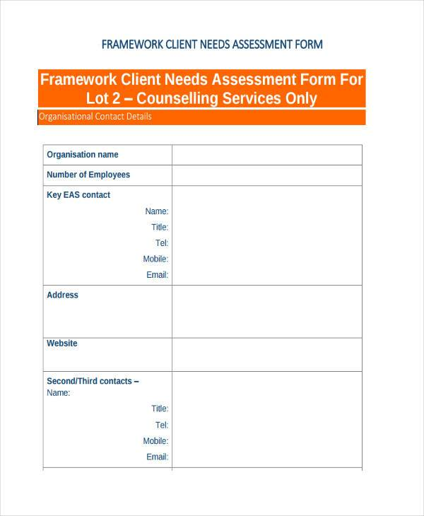 Client Assessment Form Samples  Free Sample Example Format Download