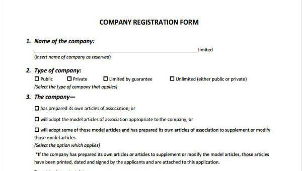 Sample Company Registration Forms - 7+ Free Documents in