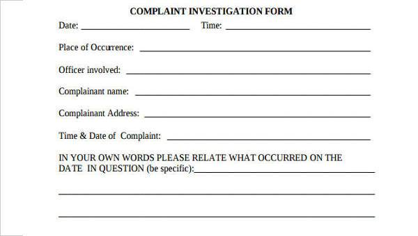 Sample Complaint Investigation Forms - 8+ Free Documents in