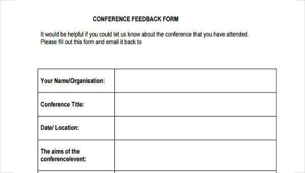 Sample Conference Feedback Forms 9 Free Documents In Word Pdf