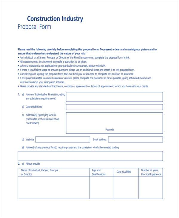 Blank Proposal Forms – Construction Proposal Form