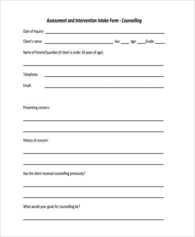 sample counseling assessment form