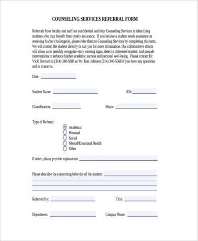 referral forms sample