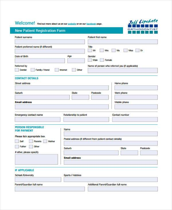 sample patient registration form