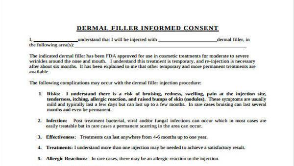 Sample Dermal Filler Consent Forms - 7+ Free Documents in