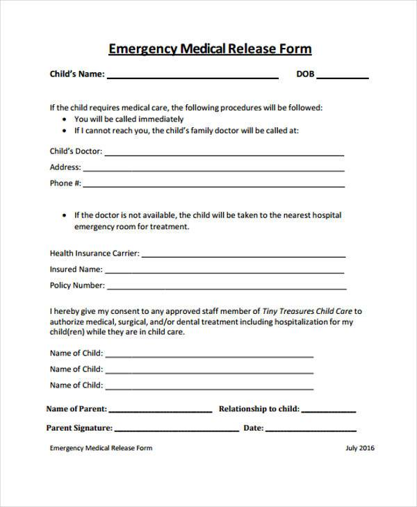 sample emergency medical release form