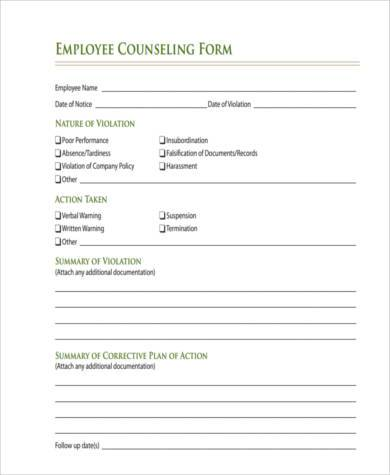 Sample Counseling Forms   Free Documents In Word Pdf