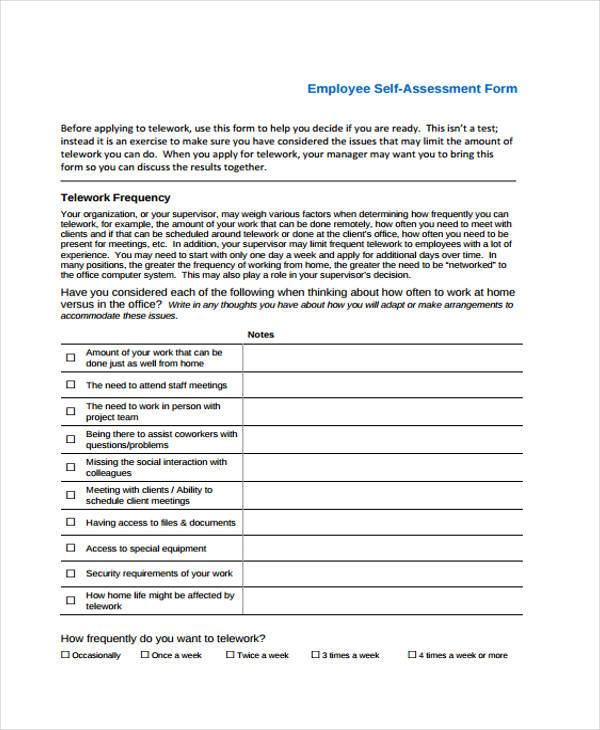 7 self assessment form samples free sample example for Self assessment templates employees