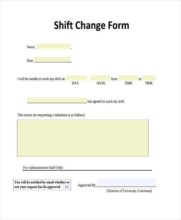 sample employee shift change form