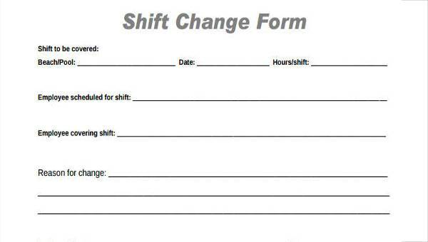 sample employee shift change forms 7 free documents in word pdf