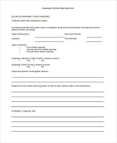 sample employee written warning form
