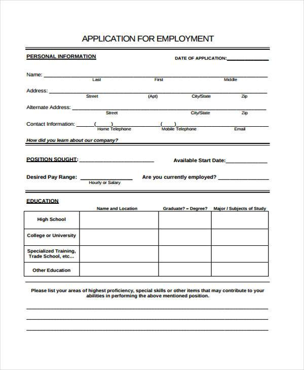 Employment Application Forms – Sample Employment Application