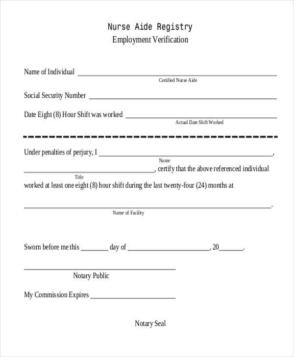8 Employment Verification Sample Forms Free Example Sample – Sample Employment Verification Form
