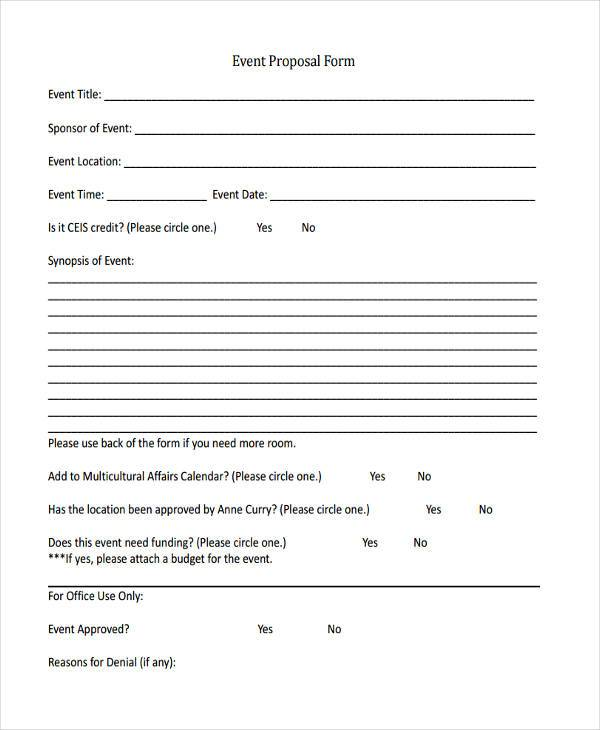 Sample Proposal Forms – Event Proposal Format
