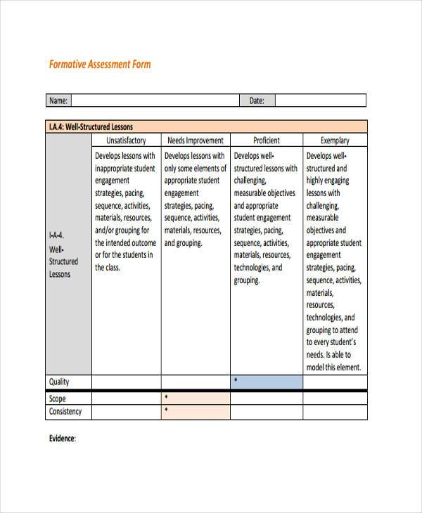sample formative assessment form