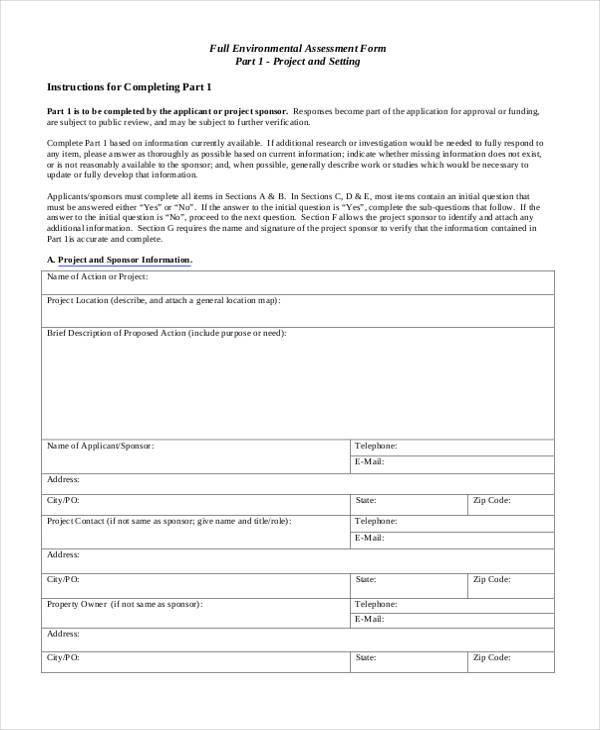 sample full environmental assessment form