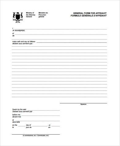 sample general affidavit form