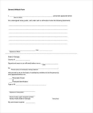 sample general affidavit form1