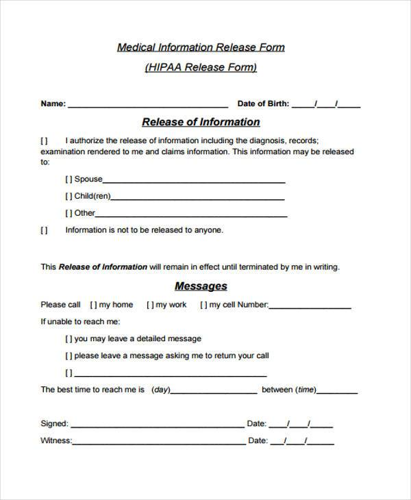 sample hipaa medical release form